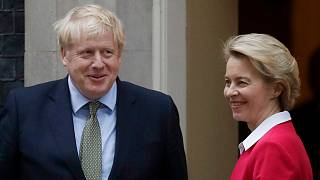 Britain's Prime Minister Boris Johnson greets European Commission President Ursula von der Leyen outside 10 Downing Street in London, Wednesday, Jan. 8, 2020.