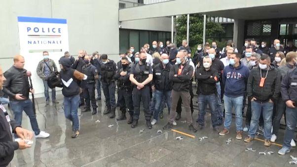 Manifestación de policías en París