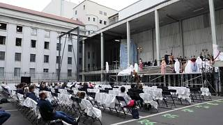 """Wagner's """"Das Rheingold"""" performed on a makeshift stage in a car park in the German capital."""