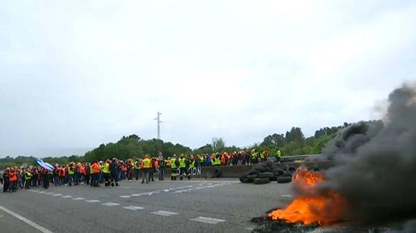 Protesta de los trabajadores de Alcoa San Cibrao