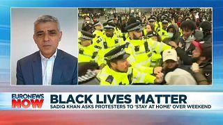 Mayor of London Sadiq Khan speaking to Euronews on Friday, June 12, 2020