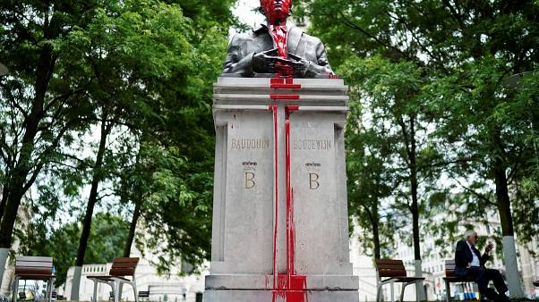 Vandalised statue of King Baudouin of Belgium (1930–1993) in the center of Brussels.