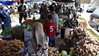 Piac Damaszkuszban 2020. május 16-án, a koronavírus-járvány idején