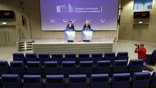 مؤتمر صحفي من داخل مقر المفوضية الأوروبية في بروكسل