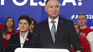 In this Feb. 19, 2020 file photo, Poland's President Andrzej Duda campaigns for his re-election in Warsaw, Poland.