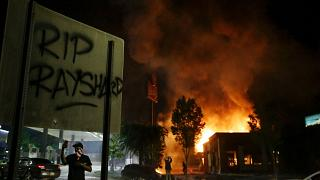 A Wendy's restaurant on fire during protests over the death of Rayshard Brooks in Atlanta