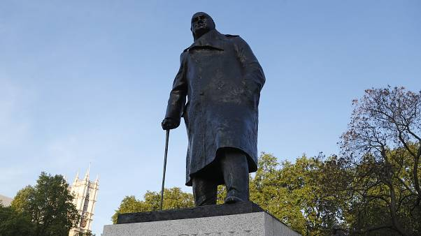 Statue of British Prime Minister Winston Churchill in Parliament Square in London, Friday, May 8, 2020