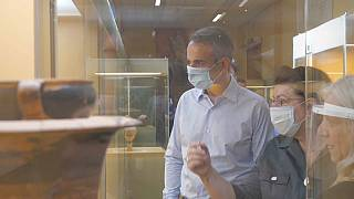Mitsotakis im Museum in Athen