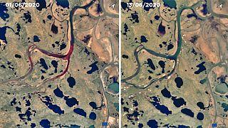 Imagen del vertido el 1 de junio y el 13. Las aguas del río aparecen más limpias. Sigue habiendo rastros alrededor