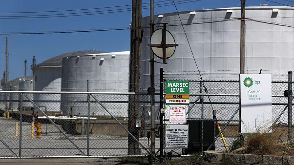 صهلريج تخزين النفط في حقل ب پ في ولاية انديانا الامريكية. 2020/04/21