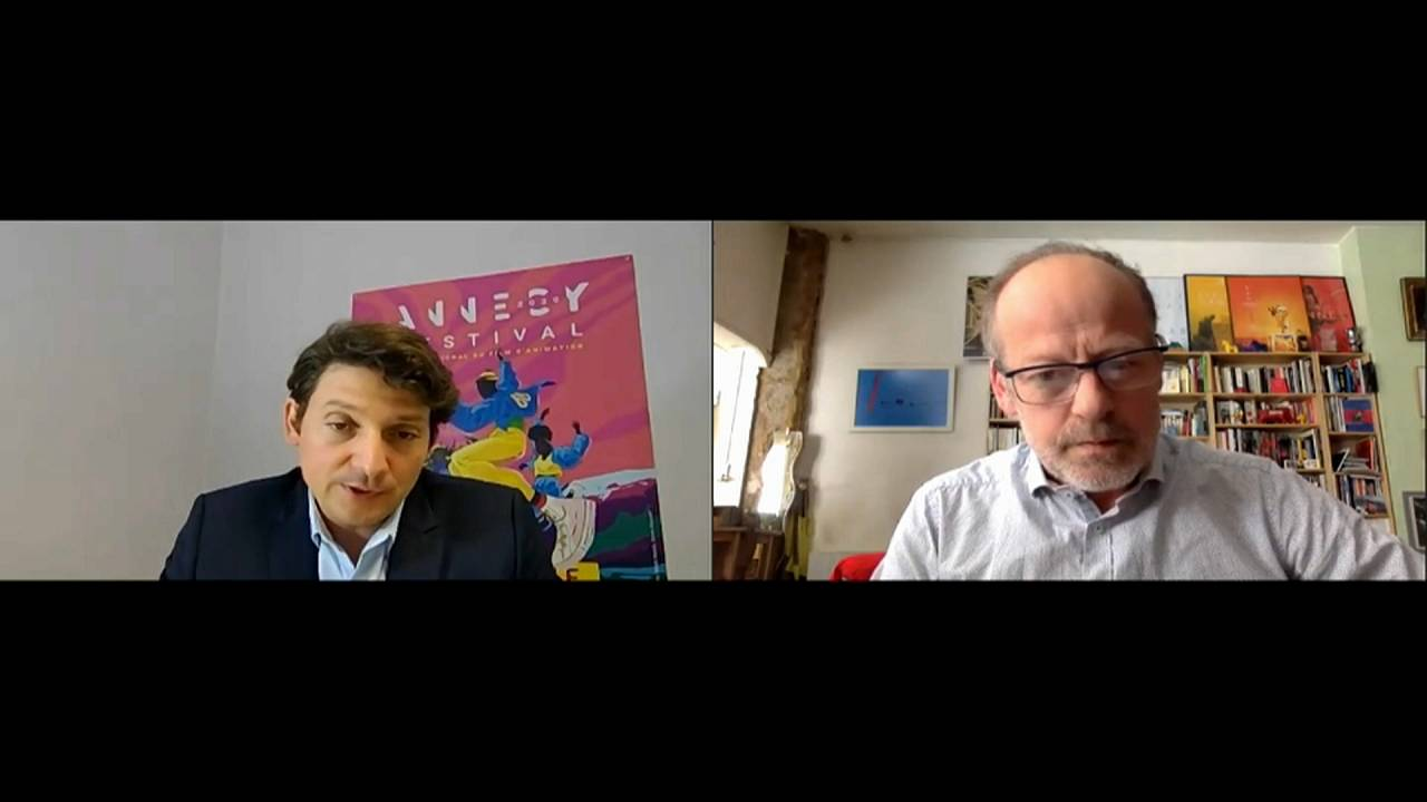 Микаэль Мартен, директор фестиваля в Анси и журналист Euronews Фредерик Понсар