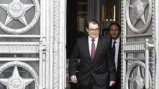 Ο Τσέχος πρέσβης στη Ρωσία, Vitezslav Pivonka φεύγει από το κτίριο του Υπουργείου Εξωτερικών της Ρωσίας στη Μόσχα,