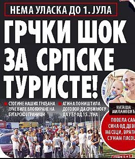 A belgrádi Novosi napilap címoldala
