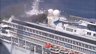 Alarm in Yokohama: Kreufahrtschiff in Flammen