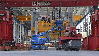 Assembly work is underway to install a new large press at the expanded press plant of Volkswagen Sachsen in Zwickau, Germany
