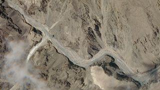 Esta foto de satélite muestra la zona del Valle de Galwan en la región de Ladakh, cerca de la Línea de Control Real entre India y China, el martes 16 de junio de 2020.