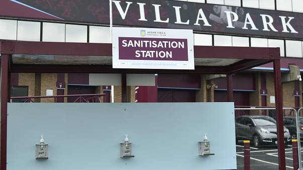 A view of a sanitisation station, at Villa Park stadium, a day ahead of the English Premier League football match between Aston Villa and Sheffield United