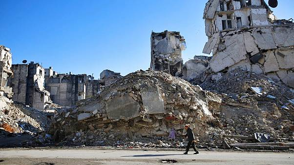 A Syrian man walks through the destruction of the Salaheddine neighborhood in eastern Aleppo, Syria - File, Jan 2018