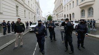 الشرطة النمساوية تقف خلال مظاهرة في العاصمة فيينا - 2020/06/05