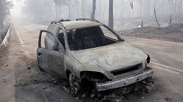 Imagem da EN 236-1 após os incêndios que há três anos mataram 66 pessoas em Portugal