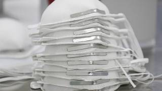 Bir maske üretim fabrikasından kare, arşiv