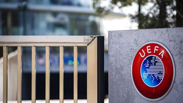 The UEFA logo displayed to the entrance of the UEFA Headquarters, Switzerland,