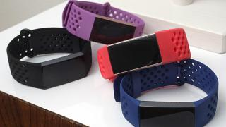 The Fitbit Charge 3 fitness trackers with sport bands are displayed in New York in August 2018.