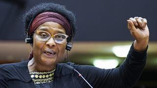 German lawmaker Pierrette Herzberger-Fofana speaks during a plenary session at the European Parliament in Brussels