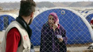 مخيم للنازحين في خازر بالقرب من الموصل في العراق