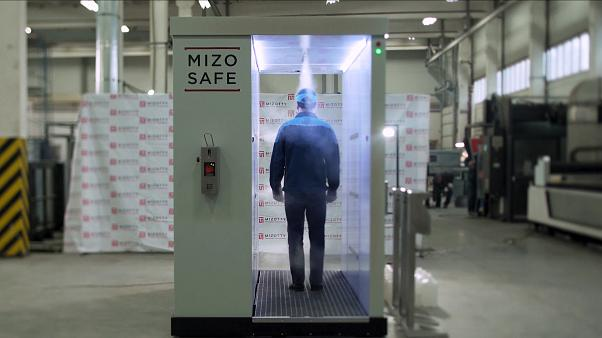 disinfection tunnel with disinfectants at the MIZOTTI Motor Technologies factory