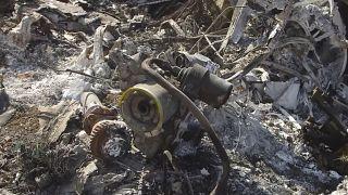حطام المروحية التي كانت تقل براينت وابنته جيانا وستة أشخاص آخرين