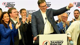 Serbian President, and leader of the Serbian Progressive Party (SNS), Aleksandar Vucic celebrates zfter party parliamentary elections in Belgrade on June 21, 2020.