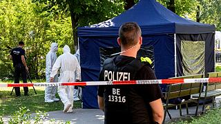 This photo taken on August 23, 2019 at a crime scene in a park of Berlin's Moabit district, where a man of Georgian origin was shot dead.