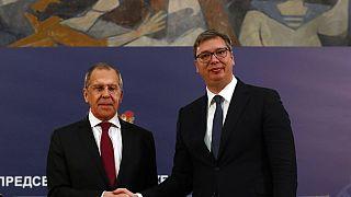 Rusya Dışişleri Bakanı Sergey Lavrov, ve Sırbistan Cumhurbaşkanı Aleksandar Vucic