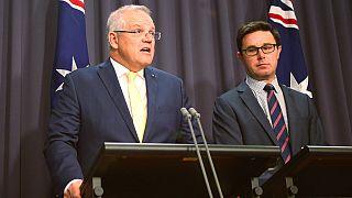 Australian Prime Minister Scott Morrison, left, and Emergency Management Minister David Littleproud hold a press conference in Canberra, Australia, January 10, 2020.