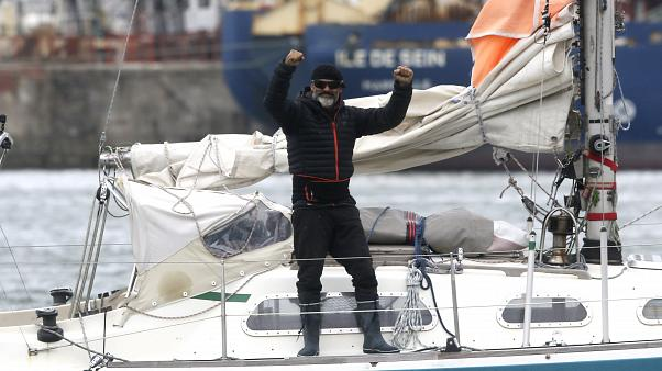 Juan Manuel Ballestero on the deck of his boat in Mar del Plata on Thursday, at the end of a three-month crossing of the Atlantic Ocean