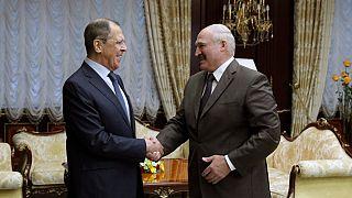 Il ministro degli Esteri russo, Sergey Lavrov e il presidente bielorusso, Alexander Lukashenko