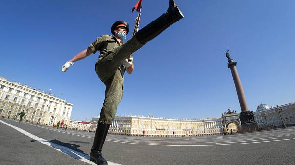 Russian army soldier a military parade rehearsal in St.Petersburg