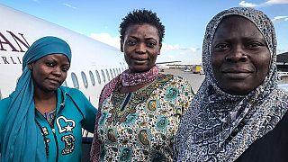 Sandrine, Rachel and Berline moments before boarding a flight from Misrata Airport, Libya, October 2018