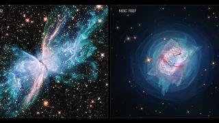 Hubble Uzay Teleskobunun fotoğrafını çektiği iki nebula