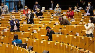 MEP Pierrette Herzberger-Fofana is applauded by colleagues following her speech on racism in Parliament