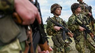 New recruits participate in a training exercise at the military camp in the north-western Hungarian city of Gyor on May 28, 2020