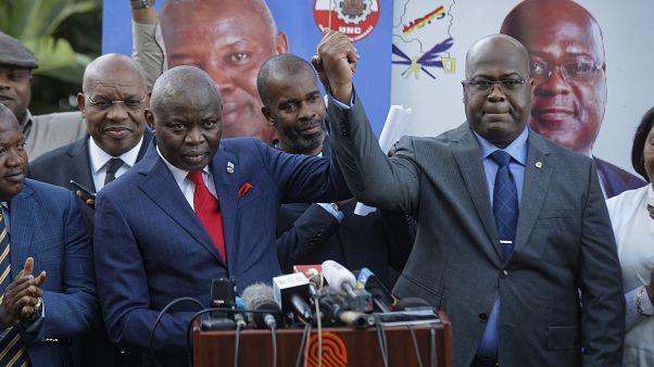 Vital Kamerhe(sol) 2018 yılındaki seçimlerde Başkan Felix Tshisekedi'yi desteklemişti
