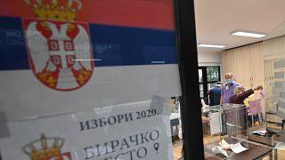 من داخل أحد أقلام الاقتراع في بلغرا\