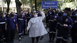 Manifestación de sanitarios en Brasil el sábado