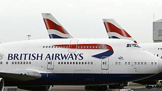 Um avião da British Airways no aeroporto de Heathrow