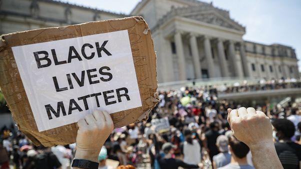 Демонстрация Black Lives Matter в Нью-Йорке.