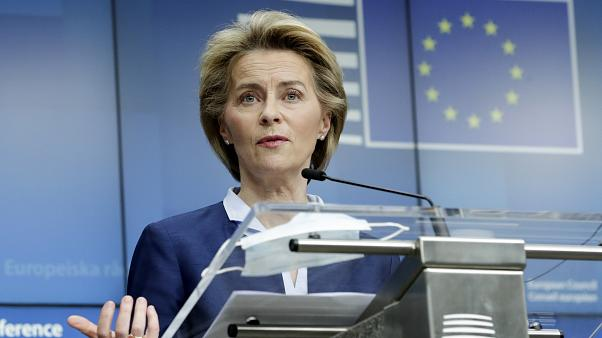 European Commission President Ursula von der Leyen speaks during a media conference after an EU summit, in video conference format, at the European Council in Brussels, Friday
