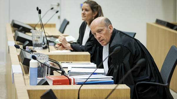 Sabine ten Doesschate and Boudewijn van Eijck, lawyers for Oleg Pulatov, at the high security court building in Schiphol Airport, near Amsterdam. June 8, 2020
