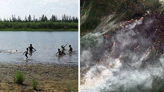 A gauche : enfants se baignant non loin Verkhoyansk, en Sibérie | A droite : Image satellite d'un incendie dans le cercle arctique